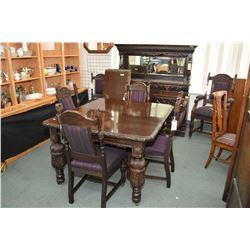 """Antique oak crank dining table with heavy carved bulbous legs and two large insert leaves, 90"""" full"""