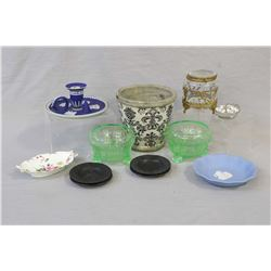 Selection of vintage collectibles including cobalt Wedgwood candlestick, Wedgwood dish and four blac