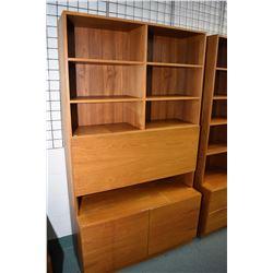 "Teak veneered drop front desk/wall unit with under storage, 77"" in height"