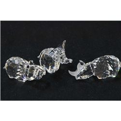 """Three small Swarovski crystal figurines from the African Wildlife Collection including 1 1/4"""" small"""