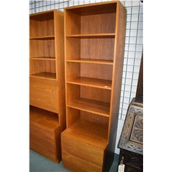 """Teak wall unit with solid teak drawers and drawer fronts, possible some veneer panels, 22"""" wide"""