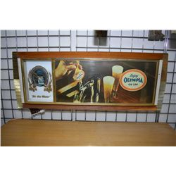 Vintage Olympia Beer light up advertising sign, note replacement lighting