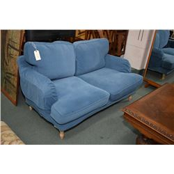 Two seat blue upholstered love seat