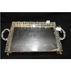 """Coin silver double handled dresser tray, footed with pierced galley, approximately 8"""" X 11"""""""