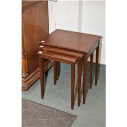Set of three mid 20th century mahogany nesting tables