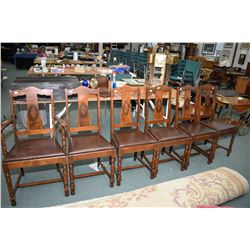 Set of six walnut depression era dining chair including one carver, appear to be reupholstered