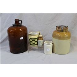 Selection of collectibles including lidded pickle crock, small glazed pottery lidded pitcher, small