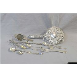 Selection of vintage and antique sterling and European silver including hand mirror marked 835, ster