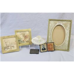 Selection of collectibles including an antique brass and enamel picture frame, a daguerreotype portr