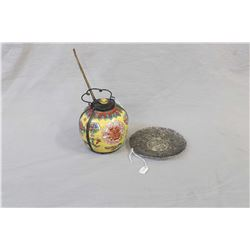 Chinese silver filigree plate and a vintage hand painted Oriental oil lamp