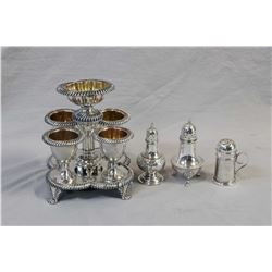 Selection of silver including sterling shakers and a four cup silver-plate egg holder