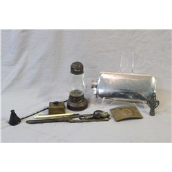 Selection of vintage collectibles including English silver-plate flask, small oil lamp, small spirit