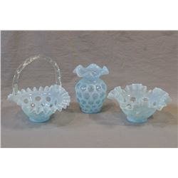 """Three pieces of blue opalescent coin dot Fenton glass including handled basket, ruffled bowl and 5"""""""