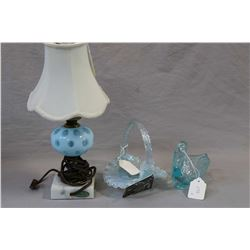 Three pieces of Fenton glass including Celeste blue diamond lace basket, blue glass swan, and a coin