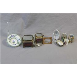 Selection of small collectibles including two antique French gilt ormolu and bevelled glass jeweller