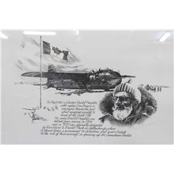 Framed black and white print of the Wardair Bristol freighter airplane, pencil signed by artist Carl