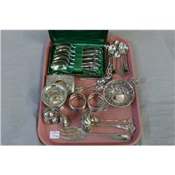 Selection of sterling collectibles including cased spoons, cigarette holder, napkin rings, ladles, s