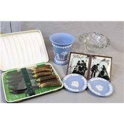 Cased set of six Birks stag handled steak knives, three pieces of Wedgwood Jasperware including vase