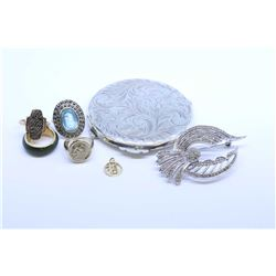 Selection and jewellery and collectibles including sterling marcasite ring, 10kt and 14kt gold rings
