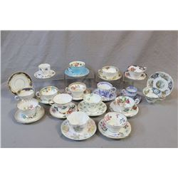 Sixteen china cups and saucers including demis, Aynsley, Queen Anne, Foley, Royal Stafford, Shelley