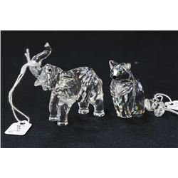 """Two Swarovski crystal figures including 2 1/2"""" baby elephant calf and a sitting cat"""