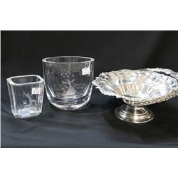 """Selection of collectibles including Orrefors etched vase 6"""" in height, a unmarked etched crystal vas"""