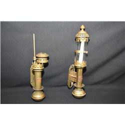 Two antique brass coach lamps, one marked G.W.R and one marked Whitestar Liverpool