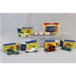 """Selection of die cast toys including MatchBox Seakings battleship, boxed """"Days Gone"""" by Lledo Woodwa"""