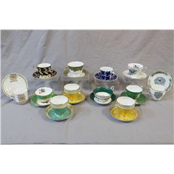 Twelve china cups and saucers including Limoges, Hammersley, Royal Albert, Aynsley, Royal Grafton, R