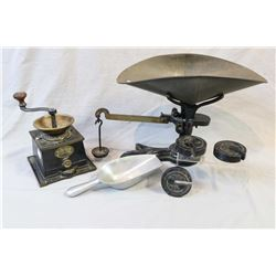 T & C Clark & Co. coffee grinder and a Burrows, Stewart & Milne cast scale with weights