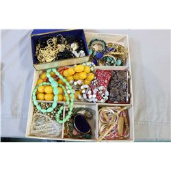Tray lot of costume jewellery including simulated amber, stone necklaces, jewellery tree, opera glas