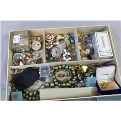 Selection of costume jewellery including vintage earrings, brooches, necklaces, perfume bottle etc.