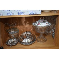 Shelf lot of collectibles including Coalport India tree, silver-plate servers, Victorian glass hand