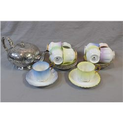 """Silver-plate hand chaised tea pot """"Larkhill"""" pattern and ten Royal Albert """"Rainbow"""" cups and saucers"""