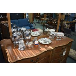 Selection of vintage collectibles including silver-plate spirit kettle, pickle castor, silver-plate