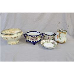 Five pieces of collectible porcelain and semi porcelain including two Royal Nippon double handled an