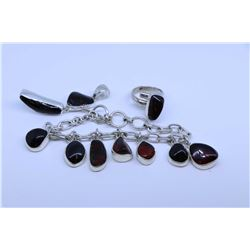 Sterling silver and cherry amber necklace, pendant and ring
