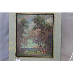Three antique original artworks on board including river farm scene dated 1888 and signed by artist