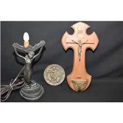 """Vintage wood and metal holy water font circa 1930, an Art deco figural nude bedside lamp and a 4"""" br"""
