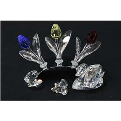 """Selection of Swarovski crystal figurines including 2 3/4"""" swan, a clam, bells and three colourful tu"""