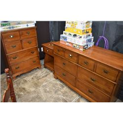Maple bedroom suite including high boy, six drawer dresser and sideboard made by Knechtel