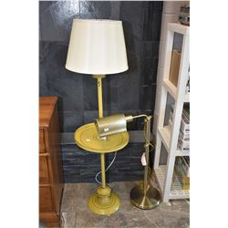 Two floor lamps including one with attached drinks tray and one adjustable reading lamp