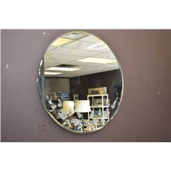 Round bevelled wall mirror with etched foliage and wall mount four place wine rack
