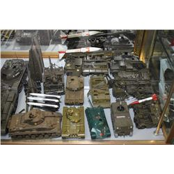 Large selection of assembled plastic military themed models in assorted scales including tanks, aero