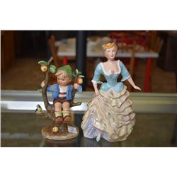 "Two figurines including a full B Hummel bird in a tree and a Wedgwood figurine ""Gloria"""