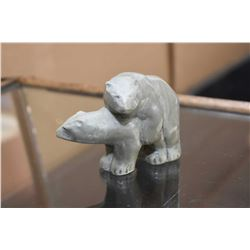 Carved soapstone figure of mating bears