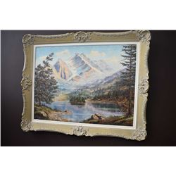 Framed oil on canvas of a mountain lake scene artist signed