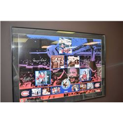 Framed Montreal Canadiens collage hand signed by Jean Beliveau, Maurice Richard, Henri Richard, Yvan