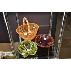 Three pieces of art glass including basket with applied handle