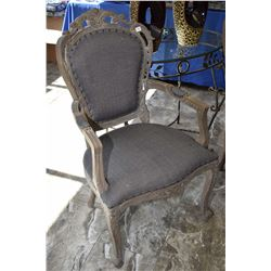 Pair of matching modern open armed French style side chairs